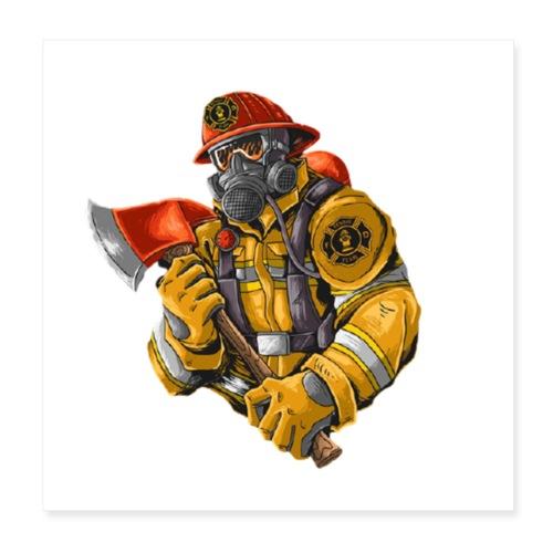 Feuerwehrmann mit Axt - Poster 20x20 cm