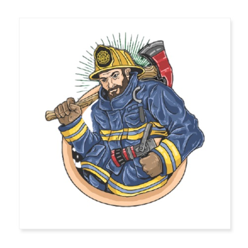 Feuerwehrmann - Poster 20x20 cm