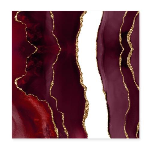 Agate lie de vin et or - Poster 20 x 20 cm