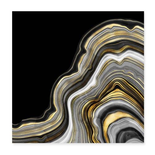 Agate vagues gris et or - Poster 20 x 20 cm