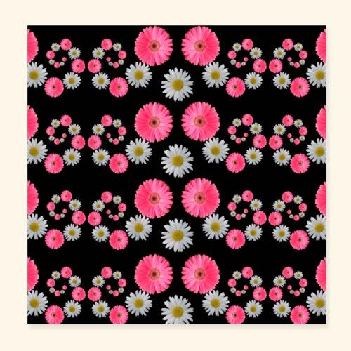 Blumen Margeriten Blüten pink floral blumig Blume - Poster 20x20 cm