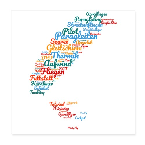 Gleitschirm Wortwolke - Poster 20x20 cm