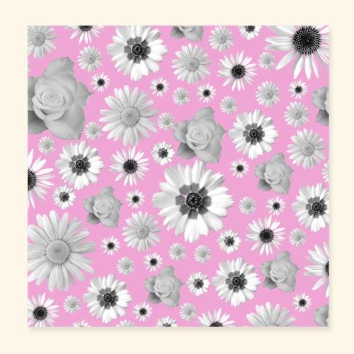 Blumen, Blume, Blüten, floral, Blumenranke, pink - Poster 20x20 cm