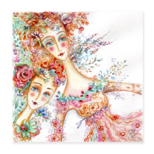 watercolor donnine 1200px - Poster 8 x 8 (20x20 cm)