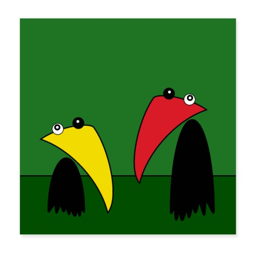 Raving Ravens - in the jungle - Poster 20 x 20 cm