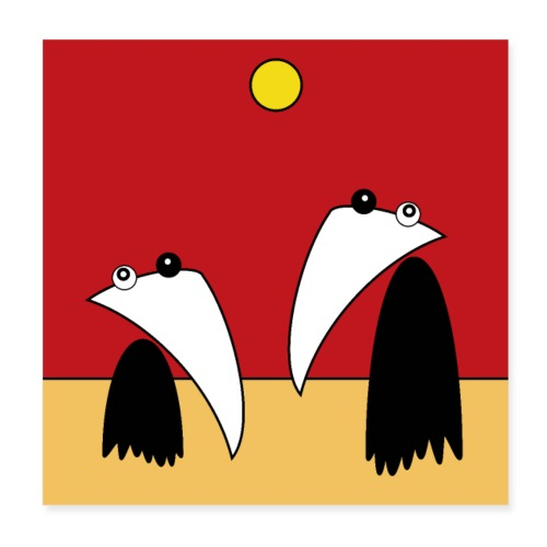 Raving Ravens - in the desert - Poster 20 x 20 cm