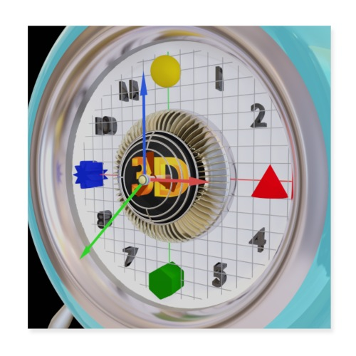 3D O' Clock with 3D engine and objects. - Poster 8 x 8 (20x20 cm)