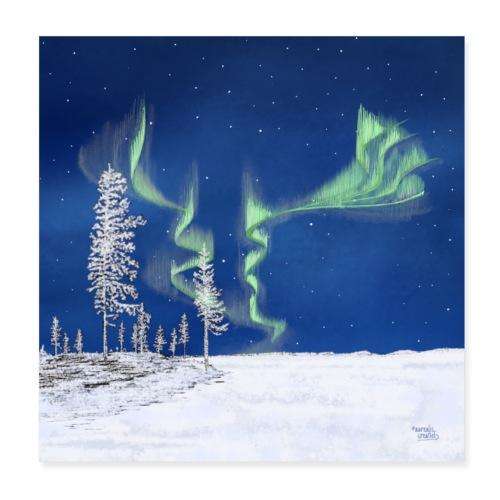 winter met noorderlicht - Poster 20 x 20 cm