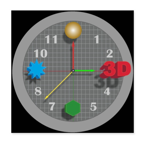 3D O' Clock with Objects - Grey/Black, Poster' - Poster 8 x 8 (20x20 cm)