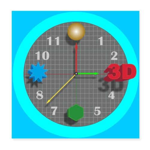 3D O' Clock with Objects - Blue/Blue, Poster - Poster 8 x 8 (20x20 cm)