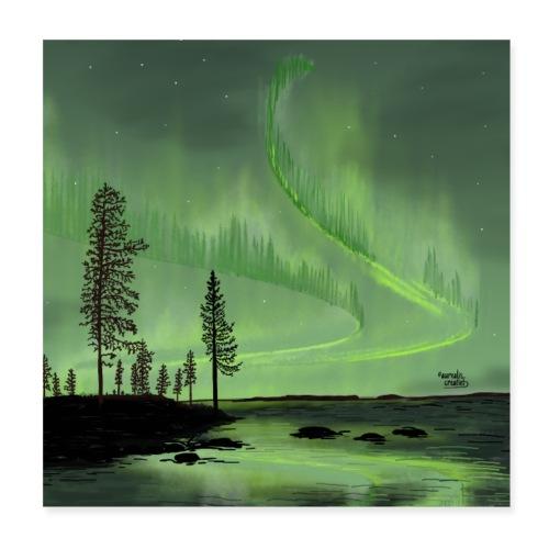 Réflexion des aurores boréales - Poster 20 x 20 cm