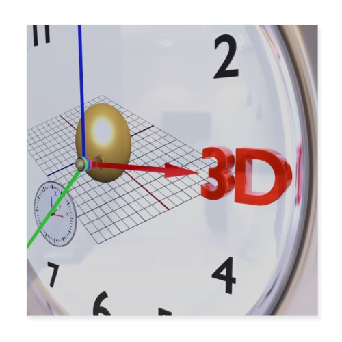 3D O' Clock with Sphere, 3D model, P/View, Poster - Poster 8 x 8 (20x20 cm)