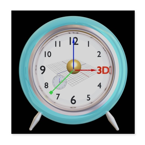 3D O' Clock with Sphere, 3D model, F/View, Poster - Poster 8 x 8 (20x20 cm)