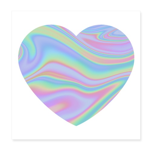 Rainbow Holographic Heart - Poster 20x20 cm