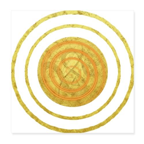 Glückssymbol Sonne - positive Schwingung - Spirale - Poster 20x20 cm