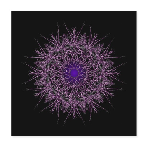 ornament jasmin dark blue - Poster 20x20 cm