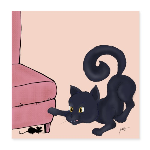Svart katt jagar - Poster 20x20 cm
