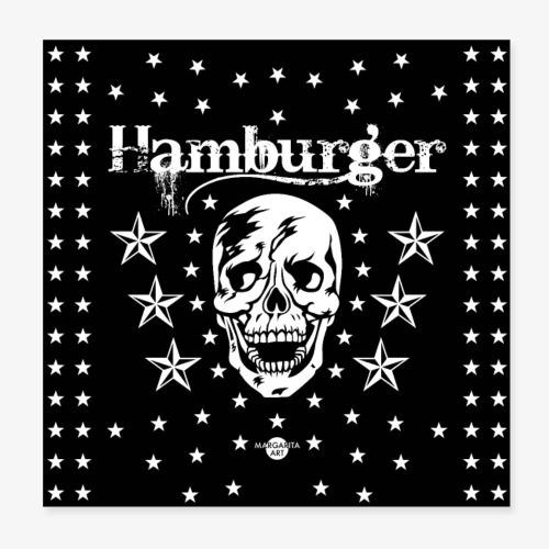 05 Hamburger Totenkopf Sterne Maske - Poster 20x20 cm