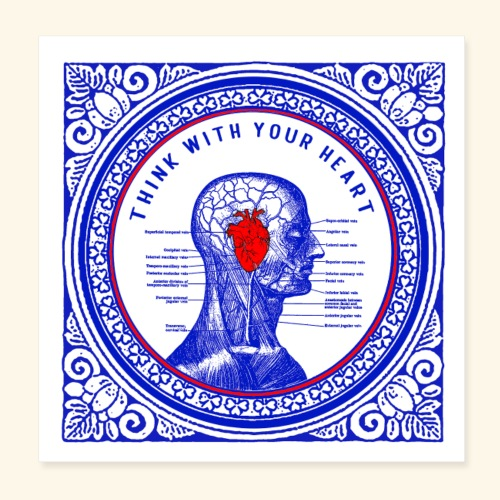 think with your heart - Poster 8 x 8 (20x20 cm)