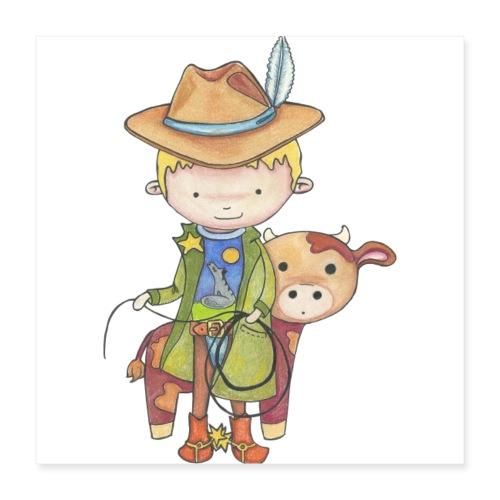 Maxou le cowboy - Poster 40 x 40 cm