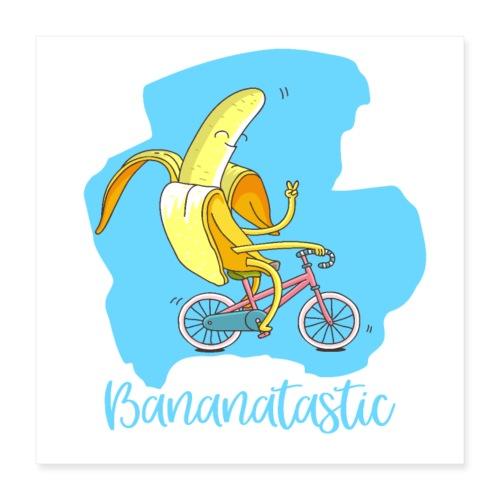 Fantastische Banane auf Fahrrad - Gute Laune vegan - Poster 40x40 cm