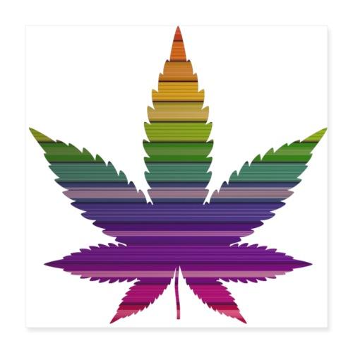 Weedblatt Design mit farbenfrohem Hintergrund - Poster 40x40 cm
