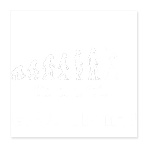 Evolution social media weiß - Poster 40x40 cm