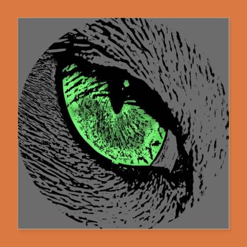 Katzenposter mit grünem Auge - Poster 40x40 cm
