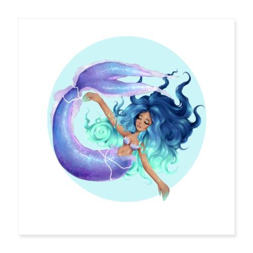 Blue Mermaid - Poster 16 x 16 (40x40 cm)