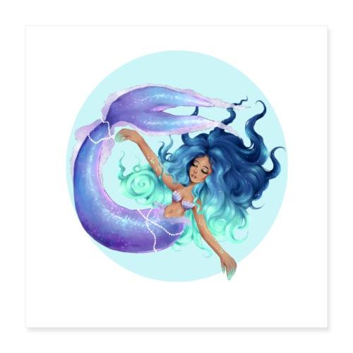Blue Mermaid - Poster 40x40 cm