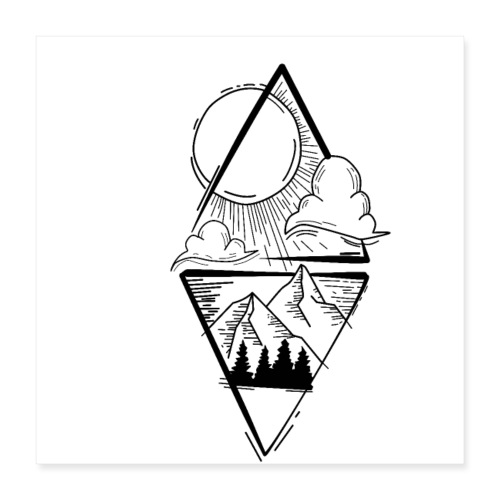 Sun Mountains - Poster 40x40 cm