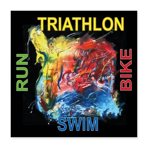 Triathlon Quadrat Poster - Poster 40x40 cm