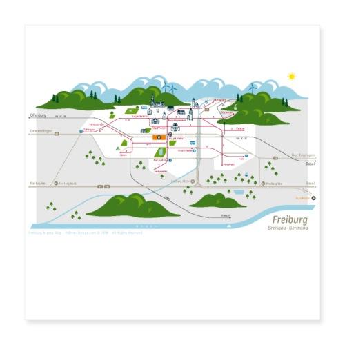 Freiburg Map - Poster 40x40 cm