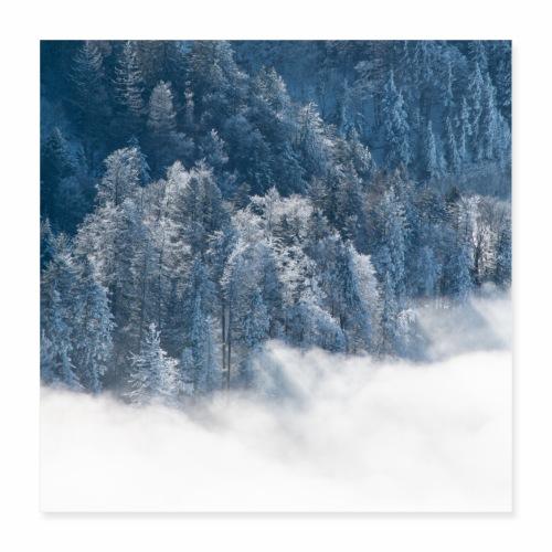 Mer de nuages en hiver - Poster 40 x 40 cm