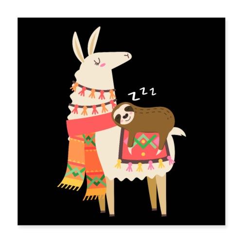 Cute Sloth Sleeping On Llama Gift - Poster 40x40 cm