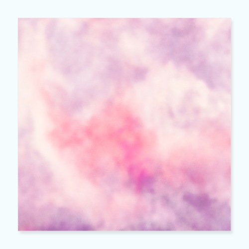 Pink clouds watercolor sky - Poster 16 x 16 (40x40 cm)