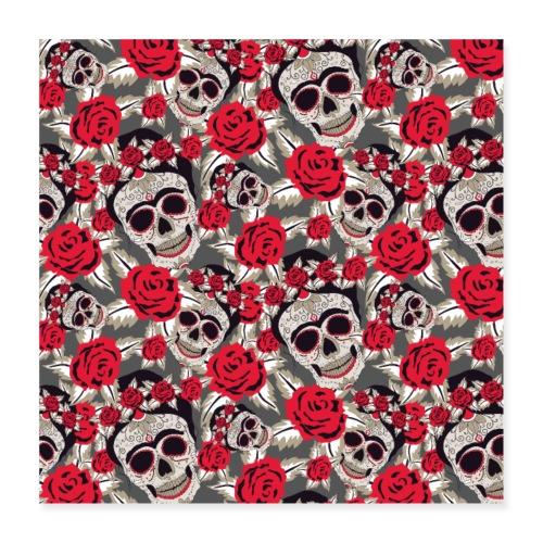 Totenkopf Schädel Zuckerschädel Mexico Rose Muster - Poster 40x40 cm
