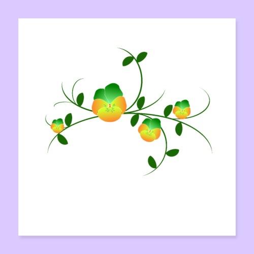 Stiefmütterchen Ranke, Veilchen, Blumen, Garten - Poster 40x40 cm