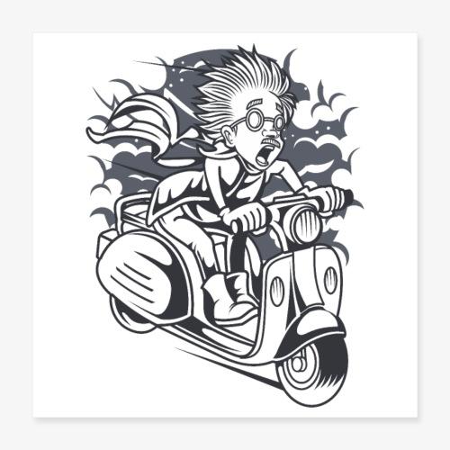 Scientifique en scooter - Poster 40 x 40 cm