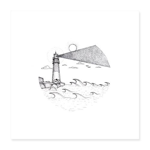 Leuchtturm am Meer - Poster 40x40 cm