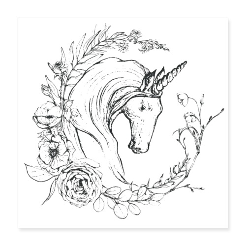Unicorn and flowers - Poster 40x40 cm