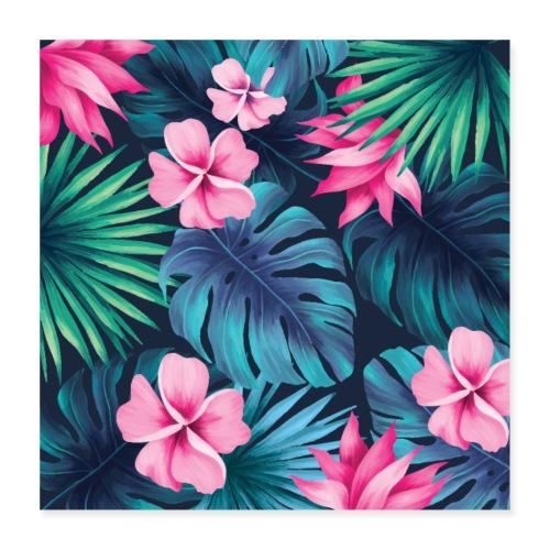 pattern, tropical, cool, funny, pretty, green, blu - Poster 40x40 cm