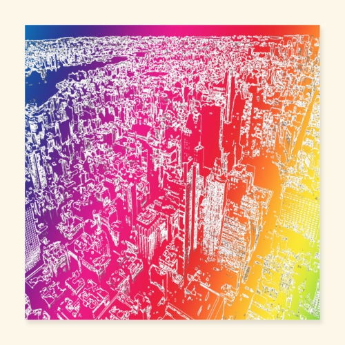 Manhattan arcobaleno - Poster 40x40 cm
