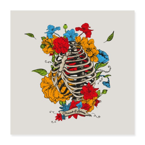 Flowers in my chest - Poster 40x40 cm