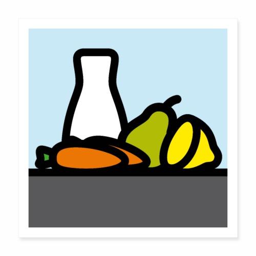 Stilleben mit Birne Karotten und Zitrone - Poster 40x40 cm