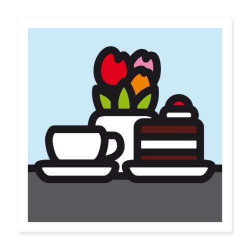 Stilleben mit Kuchen - Poster 40x40 cm