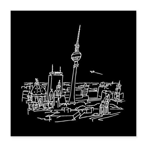 Berlin Panorama Poster - Poster 40 x 40 cm