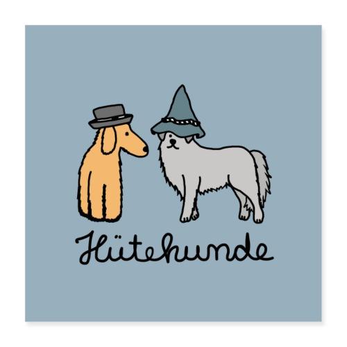 Hütehunde Poster - Hunde mit Hut - Poster 40x40 cm