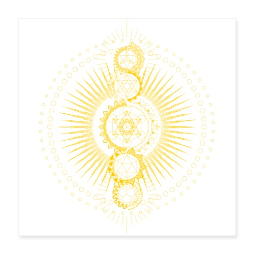 Sacred Geometry Metatron's Cube Gold Transcendence - Poster 16 x 16 (40x40 cm)
