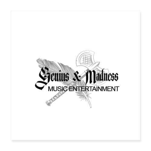 Genius and Madness White Edition - Poster 40x40 cm